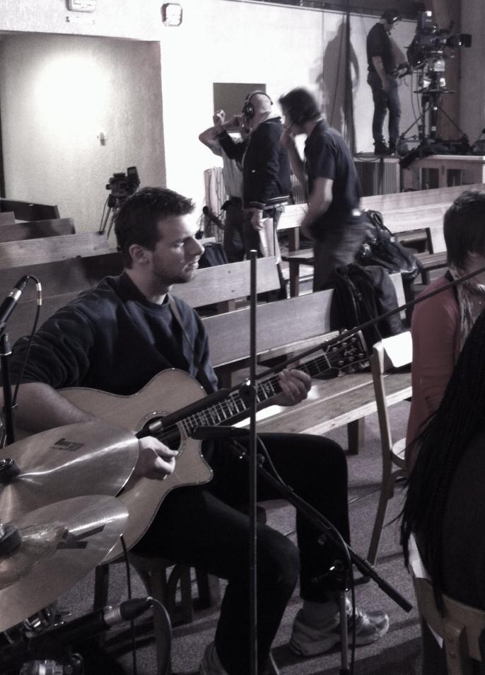 David et sa nouvelle guitare